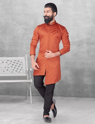 Silk orange color solid kurta suit
