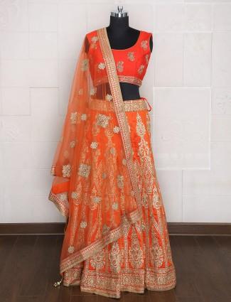 Unstitched Silk orange hue lehenga choli