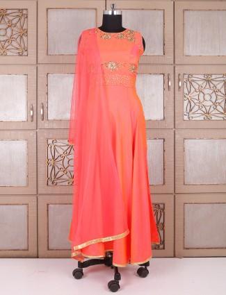 Silk orange long anarkali suit
