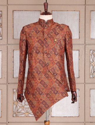 Silk orange semi indo western