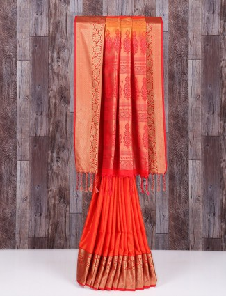 Silk orange wonderful lovely saree