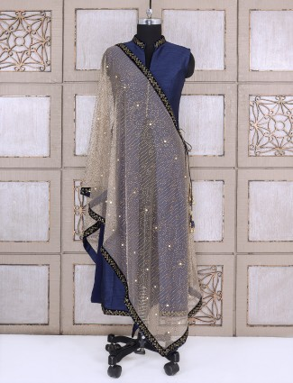 Silk palazzo suit in royal blue color