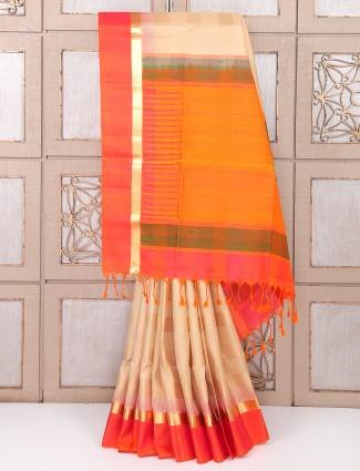 Silk party wear cream color saree