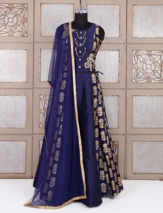 Silk party wear lehenga choli in blue color