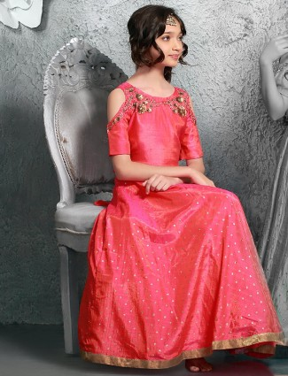 Silk party wear pink gown