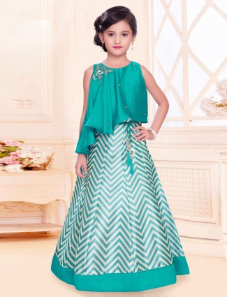 Silk party wear rama green lehenga choli