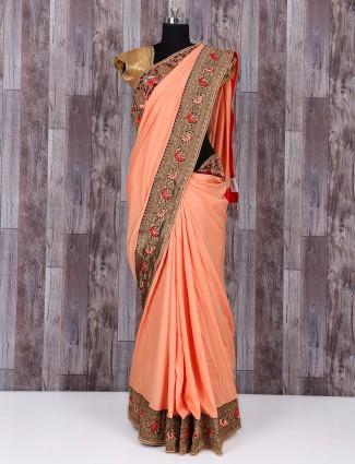 Silk peach beautiful saree