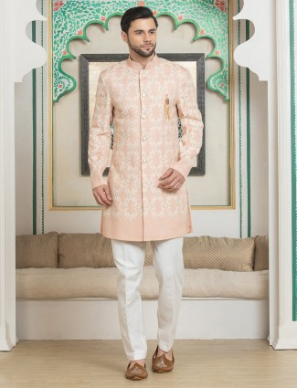 Silk peach designer indo western  wedding wear