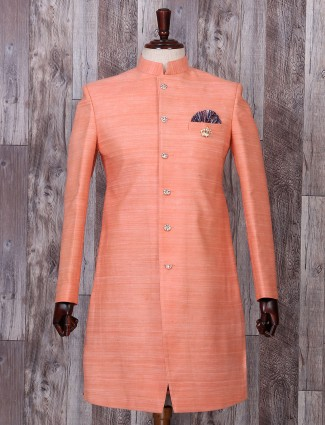Silk peach indo western for festive function