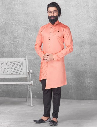 Silk peach plain kurta suit