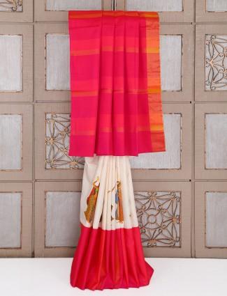 Silk pink and white saree