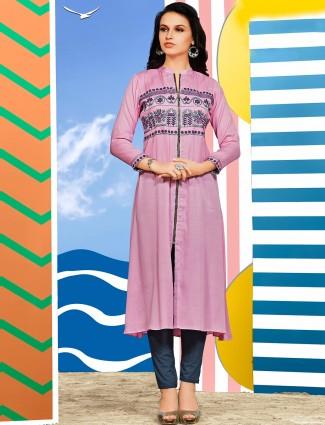 Silk pink classy kurti