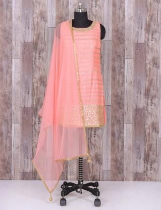 Silk pink color patiala suit