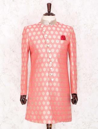 Silk pink party wear indo western