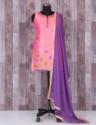 Silk pink punjabi suit