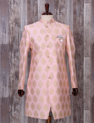 Silk pink wedding wear ethnic indo western