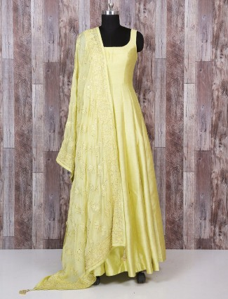 Silk plain anarkali suit in yellow color