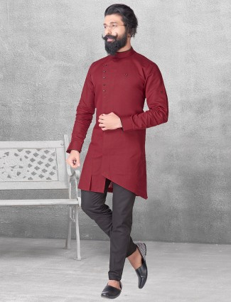 Silk plain maroon color kurta suit