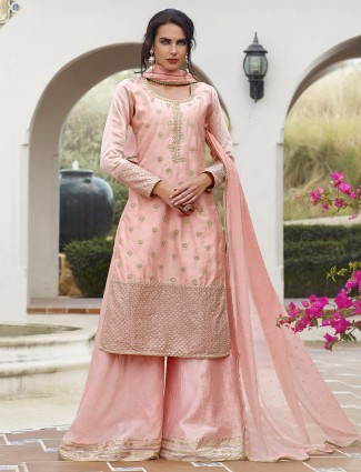 Silk plazo suit in pink color