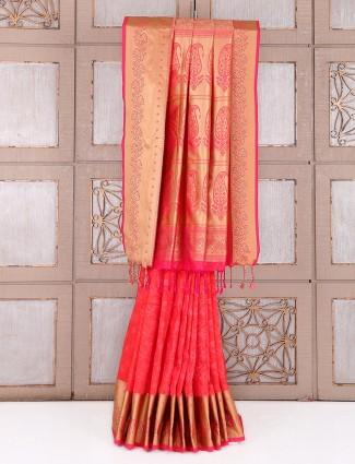 Silk pretty peach attractive saree