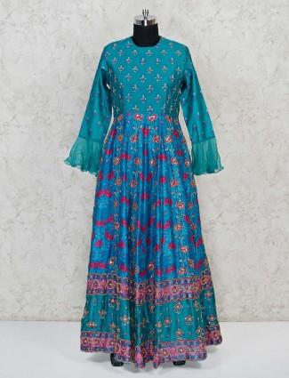 Silk printed anarkali suit in Firozi color with ruffle sleeves