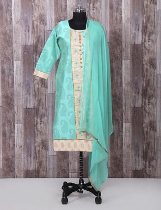 Silk punjabi sae green salwar suit
