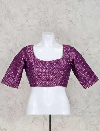Silk purple ready made blouse