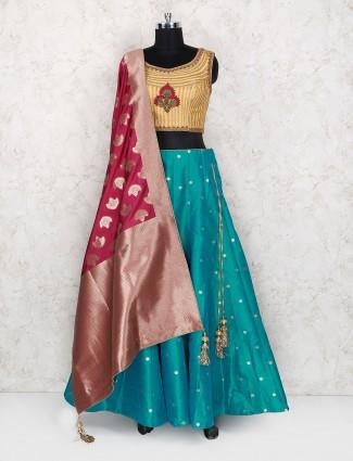 Silk rama green color exclusive lehenga choli