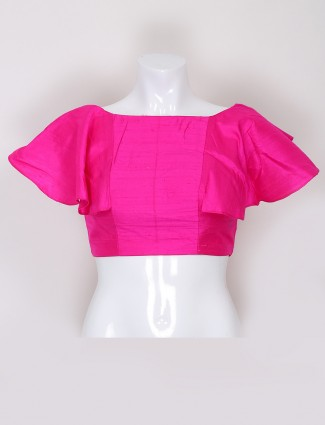 Silk ready made blouse in magenta color