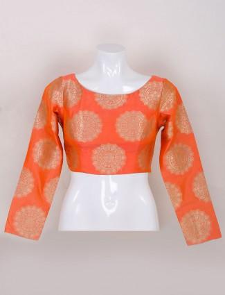 Silk ready made peach ready made blouse