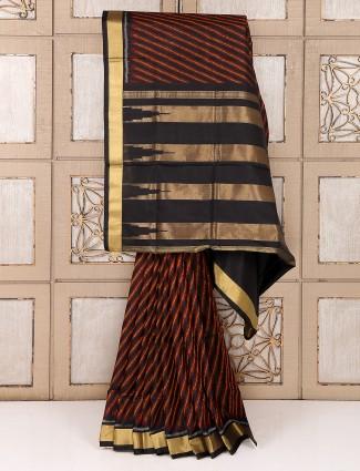 Silk reception wear black saree