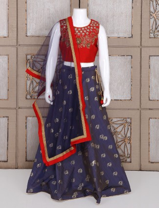 Silk red and navy choli suit