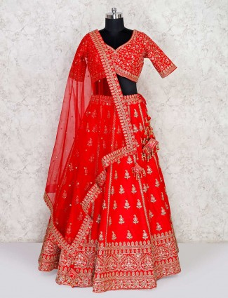 Silk red bridal wear exclusive lehenga choli