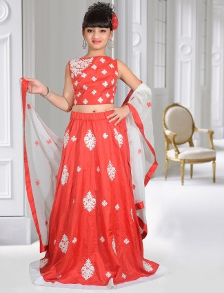 Silk red color girls lehenga choli