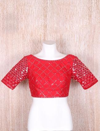 Silk red designer blouse