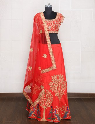 Silk red hue wedding wear unstitched lehenga choli