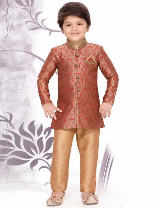 Silk red kurta suit