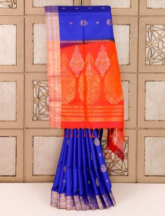 Silk royal blue reception saree