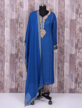 Silk royal blue salwar suit