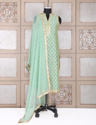 Silk salwar suit in pista green color