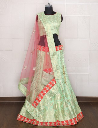 Silk sea green hue party wear lehenga choli