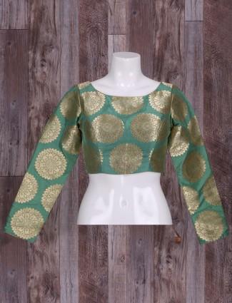 Silk sea green ready made blouse