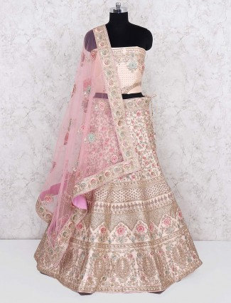 Silk semi stitched lehenga choli in cream hue