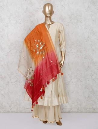 Silk sharara suit in beige color