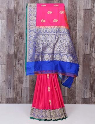 Silk simple magenta color saree