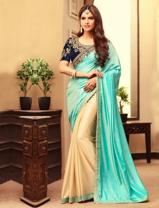 Silk sky blue cream half and half saree