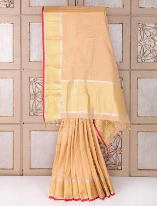 Silk wedding cream color saree
