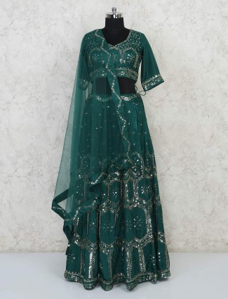 Silk wedding function bottle green lehenga choli