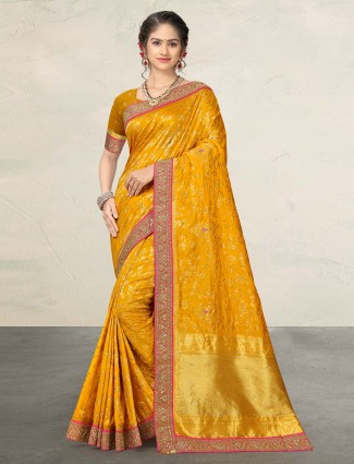 Silk wedding function yellow sari