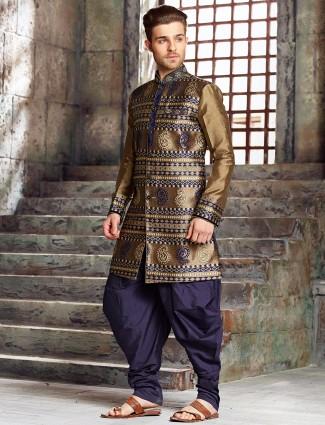 Silk wedding gold kurta suit